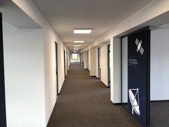Projekt in Essen: Revitalisierung einer Büroetage. Gipskarton-Trennwände, Brandschutzbekleidungen, Akustik-Design-Decken