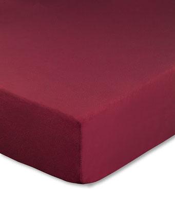 Spannbettlaken mit hohem Seitensteg in Farbe bordeaux aus 100% reiner Baumwolle