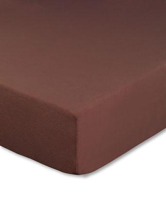 Spannbettlaken mit hohem Seitensteg in Farbe schokobraun aus 100% reiner Baumwolle