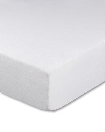 Spannbettlaken mit hohem Seitensteg in Farbe weiß aus 100% reiner Baumwolle