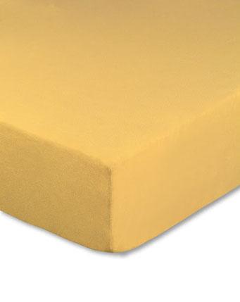 Spannbettlaken mit hohem Seitensteg in Farbe maisgelb aus 100% reiner Baumwolle