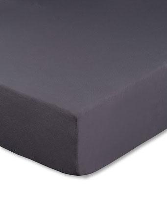 Spannbettlaken mit hohem Seitensteg in Farbe anthrazit aus 100% reiner Baumwolle