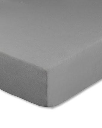 Spannbettlaken mit hohem Seitensteg in Farbe grau aus 100% reiner Baumwolle