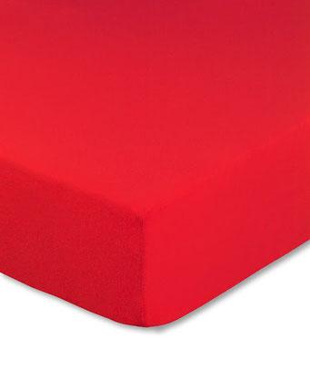 Spannbettlaken mit hohem Seitensteg in Farbe rot aus 100% reiner Baumwolle