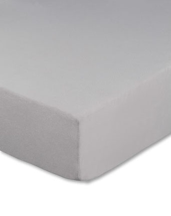 Spannbettlaken mit hohem Seitensteg in Farbe silber aus 100% reiner Baumwolle