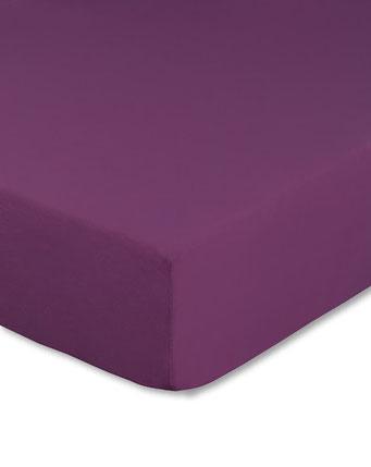 Spannbettlaken mit hohem Seitensteg in Farbe aubergine aus 100% reiner Baumwolle