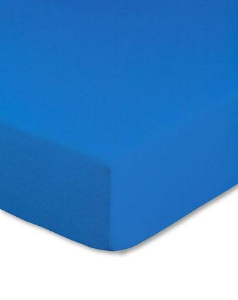 Spannbettlaken mit hohem Seitensteg in Farbe royalblau aus 100% reiner Baumwolle