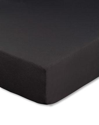Spannbettlaken mit hohem Seitensteg in Farbe schwarz aus 100% reiner Baumwolle