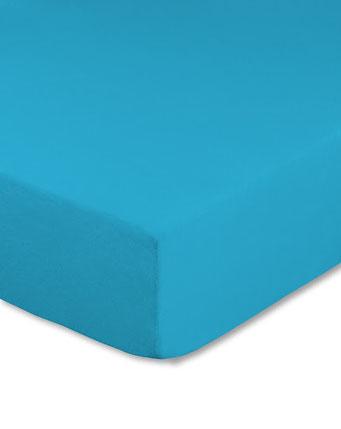 Spannbettlaken mit hohem Seitensteg in Farbe türkis aus 100% reiner Baumwolle