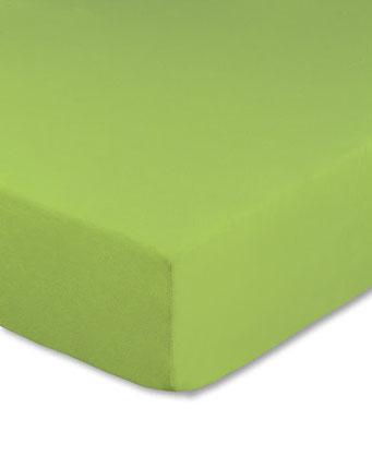 Spannbettlaken mit hohem Seitensteg in Farbe apfelgrün aus 100% reiner Baumwolle