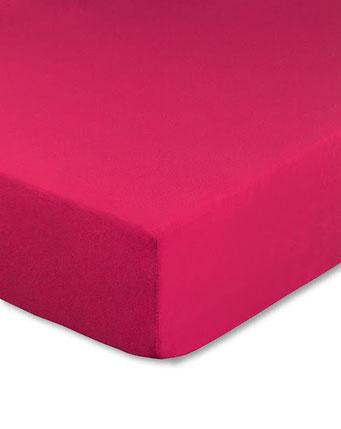 Spannbettlaken mit hohem Seitensteg in Farbe pink aus 100% reiner Baumwolle