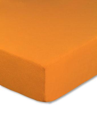 Spannbettlaken mit hohem Seitensteg in Farbe orange aus 100% reiner Baumwolle