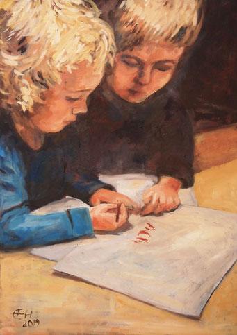 I'll Show You How To Write, Öl_Lwd.50x70cm