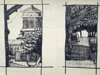 Some pen and ink practices of different kinds of -scapes.