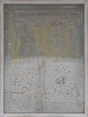 The BHT - n° 1, , 2009, acrylic, marble, resin, gold, silver on canvas, 53 x 37 cm
