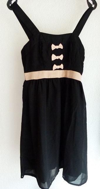 """Kleid """"Jannu"""" von Vero Moda in schwarz/altrosa (auch in beige erhältlich) mit leicht ausgestelltem transparenten Rock, blickdichter Unterrock UVP 29,95 € - bei uns nur 17,50 € + Versandkosten nur 3,90 € - einmalig pro Bestellung!"""