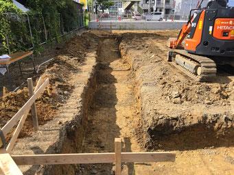 布基礎部 掘削