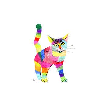 猫のイラスト レインボー