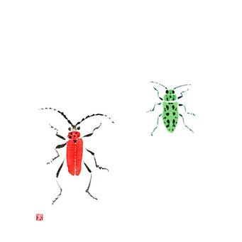 動物イラスト カミキリムシとタマムシ