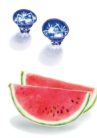 和の食べ物イラスト「元気のわ」 盛夏号 スイカ