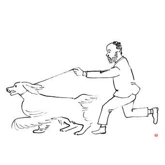 犬のイラスト アフガンハウンド