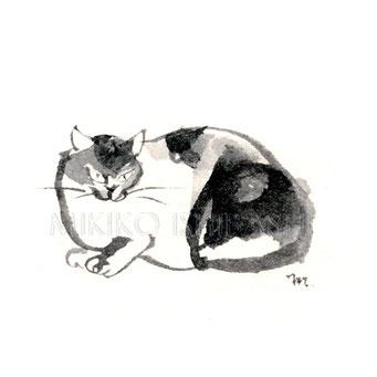 猫のイラスト 墨
