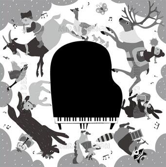 アンプロンプチュ ピアノ教室発表会プログラムイラスト