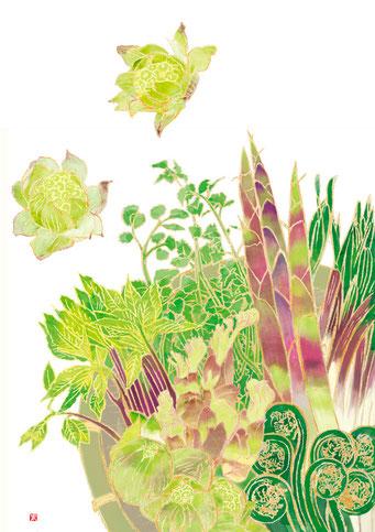 和の食べ物イラスト「元気のわ」 早春号 山菜づくし