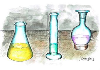 Glaskolben, Fineliner und Tusche, ©Martin M. Uhland