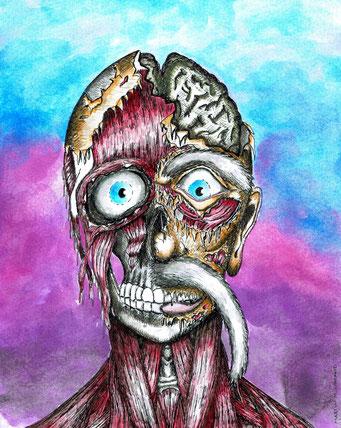 Zombie,  Fineliner und Tusche, ©Martin M. Uhland