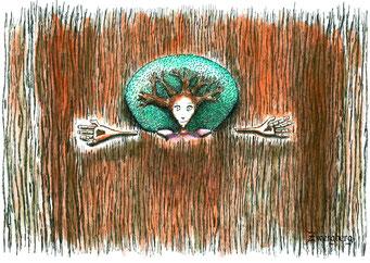 Astläuferfrau, Fineliner und Tusche, ©Martin M. Uhland, Band 1: Zwergberg – Memento Mori