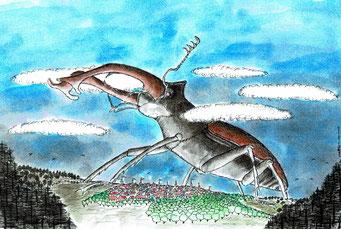 Insect,  Fineliner und Tusche, ©Martin M. Uhland