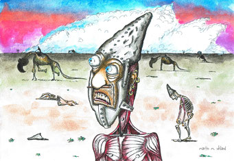 Dystopie,  Fineliner und Tusche, ©Martin M. Uhland, Band 2: Zwergberg – Oneironaut