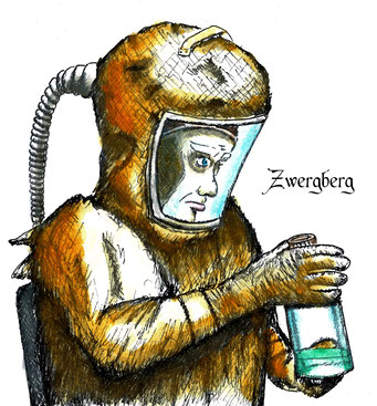 Zellextraktion, Fineliner und Tusche, ©Martin M. Uhland, Band 2: Zwergberg – Oneironaut