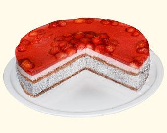 Mohncreme-Erdbeer-Torte
