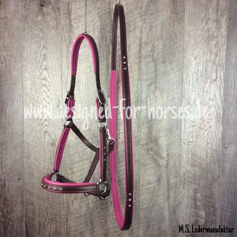 Showhalter mit Halsring aus Leder aus braunem Zaumleder mit Nappaleder in Pink und Strass