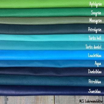Nappaleder vom Rind in Blau- und Grüntönen