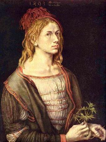 Albrecht Dürer (1471-1528), autoportrait au chardon, 1493.