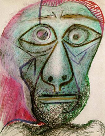 Picasso, autoportrait, 1972.