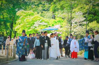 山梨県武田神社結婚式神殿に向かうシーンの写真です