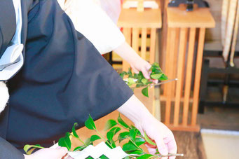 山梨県武田神社結婚式神殿にて玉串を奉納