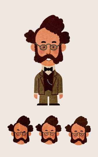 Character-Design für Erklärfilm - Werner von Siemens - Kunde: Siemens - Fimproduktion: Just