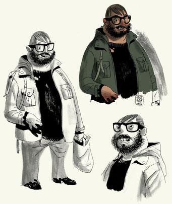 "Character-Design für Graphic Novel ""Vatermilch"" - Obdachloser Börni"