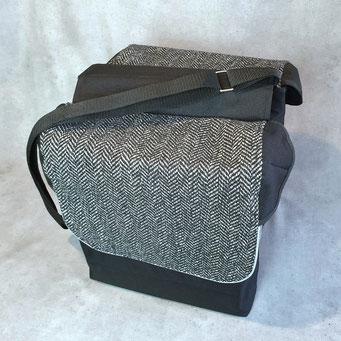 Gepäckträgertasche, doppelt, Packtasche, Tweed,