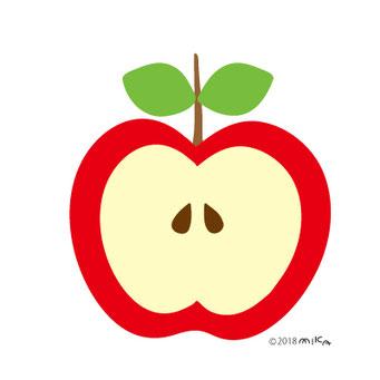 半分のりんご(葉二枚)