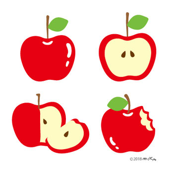 りんごいろいろ4つ