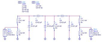 50MHz BPF シミュレーション回路