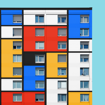Mondrian edit - Linz colorful facades modern architecture photography