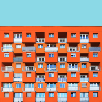 Spatial facade - Linz colorful facades modern architecture photography