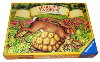 Le lièvre & la tortue, édité par Ravensburger, basé sur la fable de La Fontaine